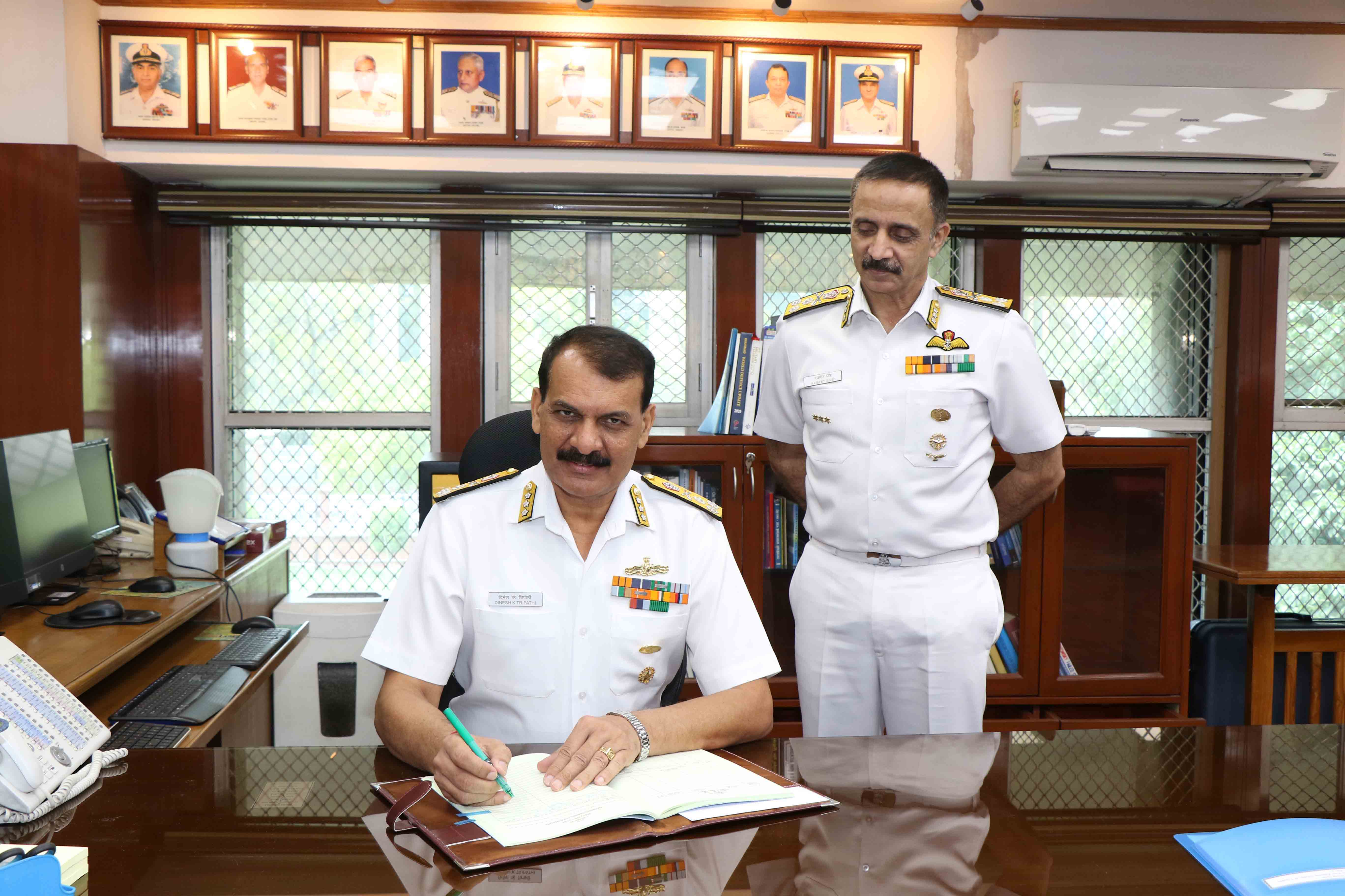 Vice Admiral Dinesh K Tripathi, AVSM, NM Assumed charge as Chief of Personnel
