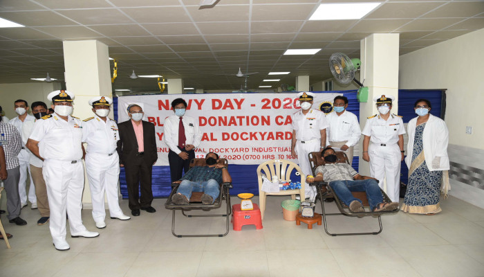 Mega Blood Donation Camp Organised at Naval Dockyard Visakhapatnam